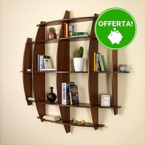 Libreria componibile in legno LUNA - 150 x 30 x 150h cm - finitura Noce