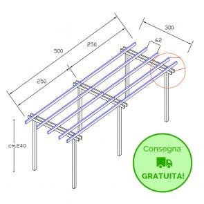 Onlywood Pergola  BASIC autoportante 5 x 3 legno classe 3 - portata 50 Kg - ANCHE SU MISURA