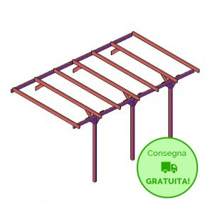 Onlywood ESTENSIONE Carport - tettoia per auto 2,7 x 5 metri in legno impregnato classe 3