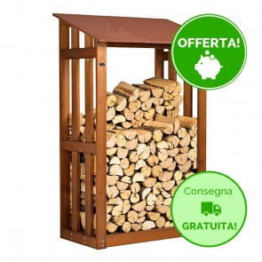 Legnaia in legno trattato per esterno 122 x 70 x 180 cm
