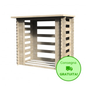 Legnaia da esterno in legno BUCHER 193 x 137 x 178 h. cm
