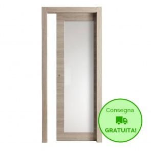 Porta Vetro Scorrevole Interna Reversibile EASY Melaminico Cipria h. 210 cm - 2 Dimensioni