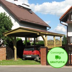 Carport singolo NEVADA 609  x 378 cm in legno IMPREGNATO