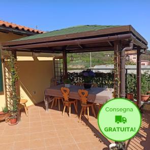 KIOSK Gazebo tetto legno + tegole 347x347 montanti 12x12