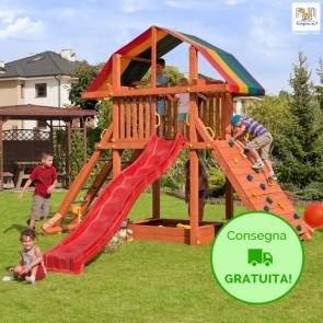 Parco Giochi in legno Fungoo ROCKET - 385 x 375 x 315h cm