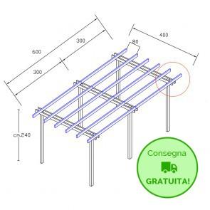 Onlywood Pergola  BASIC autoportante 6 x 4 legno classe 3 - portata 50 Kg - ANCHE SU MISURA