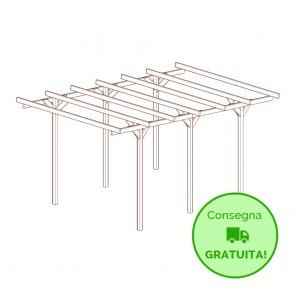 Carport - tettoia per auto 300 x 500 cm in legno impregnato classe 3