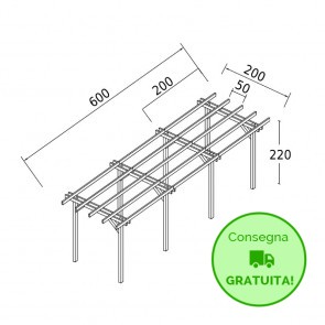 Onlywood Pergola STANDARD autoportante 6 x 2 legno classe 3 - portata 90 Kg - ANCHE SU MISURA