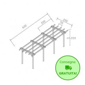 Pergola STANDARD autoportante 600x200 legno classe 4 - portata 90 Kg - ANCHE SU MISURA