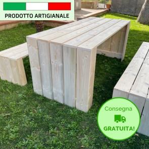 Onlywood Tavolo in legno da giardino MADRID - legno di Abete Massello Naturale 180 x 80 x 78 h cm
