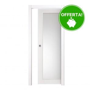 Porta Vetro Scorrevole Interna Reversibile EASY Melaminico Bianco Graffiato h. 210 cm - 2 Dimensioni