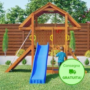 Torre Parco Giochi Fungoo BUFFALO in legno di abete con scivolo - 302 x 335 x h 285 cm