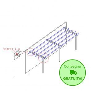 Pergola BASIC addossata 600x300 legno classe 4 - portata 50 Kg - ANCHE SU MISURA