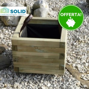 Fioriera legno BAC 40 x 40 sp. 4 cm con rivestimento e maniglie - Garanzia 5 anni