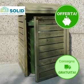 Pattumiera porta bidoni in legno trattato per esterno  75 X 92 X 120 h.cm