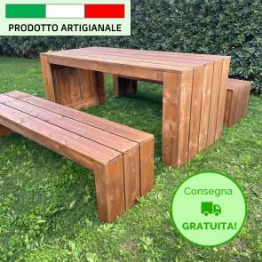 Onlywood Tavolo in legno da giardino MADRID - legno di Abete Massello Noce chiaro 180 x 80 x 78 h cm