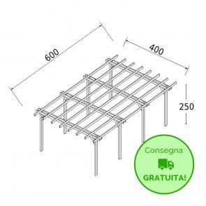 Pergola STANDARD autoportante 6 x 4 legno classe 3 - portata 90 Kg - ANCHE SU MISURA
