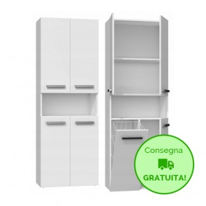 Mobile lavanderia componibile PIERO con 1 Cestello per biancheria - 60 x 30 x 174h cm - Bianco