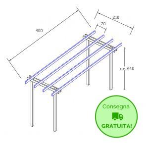 Pergola  BASIC autoportante 4 x  2,1 legno classe 3 - portata 50 Kg - ANCHE SU MISURA