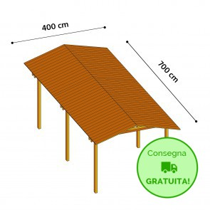 Onlywood Gazebo TIP 4 x 7 tetto in legno antivento - impregnato - personalizzabile