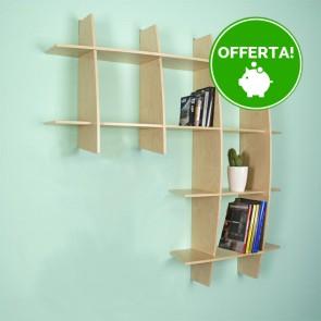 Libreria componibile in legno ARMONY - 150 x 30 x 150h cm - finitura Acero