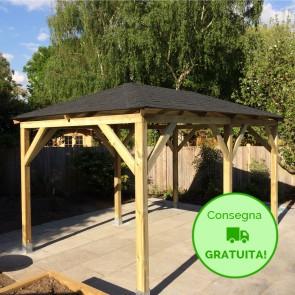 KIOSK Gazebo tetto legno + tegole 490x290 montanti 12x12