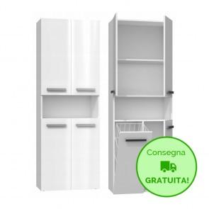 Mobile lavanderia componibile PIERO con 1 Cestello per biancheria - 60 x 30 x 174h cm - Bianco Laccato