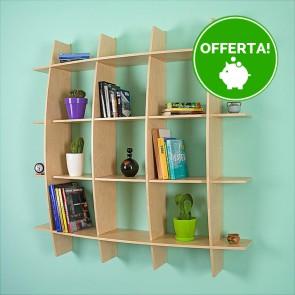 Libreria componibile in legno ARCO - 150 x 30 x 150h cm - finitura Acero