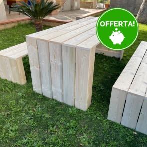 Tavolo in legno da giardino MADRID - legno di Abete Massello Naturale 180 x 80 x 78 h cm