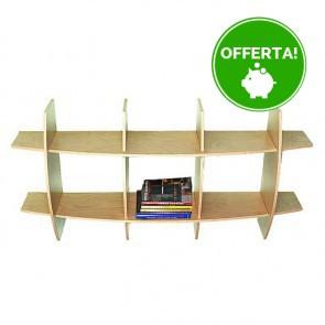 Libreria componibile in legno AMBRA - 150 x 30 x 75h cm - finitura Acero