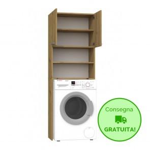 Mobile lavanderia componibile POLA - 64 x 30 x 183h cm - Rovere