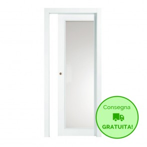Porta Vetro Scorrevole Interna Reversibile EASY Melaminico Bianco h. 210 cm - 2 Dimensioni