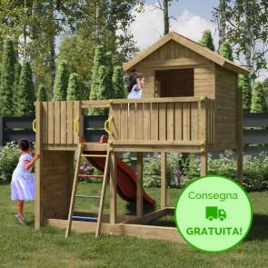 Parco Giochi in legno di pino Fungoo GALAXY L - 266 x 309 x 280h cm
