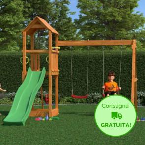 Parco Giochi Fungoo Flappi in legno Abete 370 x 303 x h 272 cm con Altalene e sciovolo