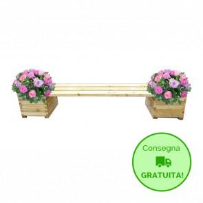 Onlywood Panca da giardino con fioriera - legno di pino trattato 3 dimensioni
