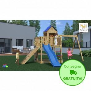Parco Giochi in legno di pino Casa sull'albero - 501 x 443 x 272 cm