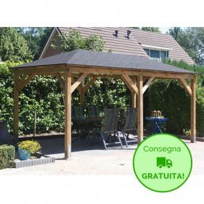 KIOSK Gazebo tetto legno + tegole 700x444 montanti 12x12