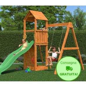 Parco Giochi Fungoo Flippi in legno Abete 370 x 213 x h 272 cm con altalena e scivolo