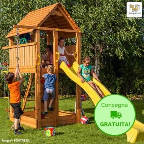 Torre Parco Giochi con Casetta e Scivolo Fungoo FORTRESS in legno di Abete - 460 x 200 x h 310 cm