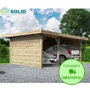 Carport-Pergola in legno IMPREGNATO 7 x 5 metri con pareti - 3 posti auto