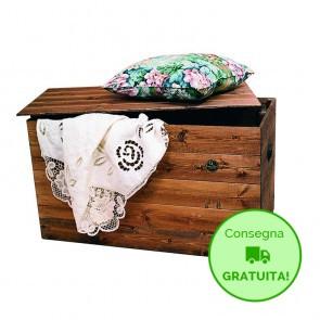 Cassapanca in legno da interno CARLOTTA - 60 x 45 x 45h cm - Legno verniciato Noce