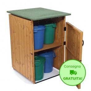 PORTA SECCHI per rifiuti in legno trattato 74 x 86 x 116 cm - Porta bidoncini