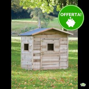 Casetta per bambini PIPPI 140x100 legno IMPREGNATO - pavimento COMPRESO