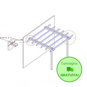 Pergola  BASIC addossata 300x400 legno classe 4 - portata 50 Kg - ANCHE SU MISURA