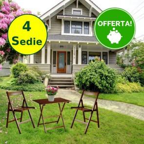 Set tavolo e sedie da giardino in legno di faggio color Noce - 4 sedie