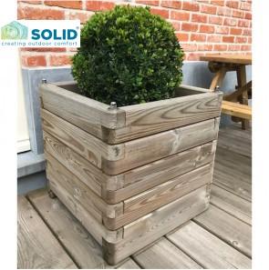 Fioriera ROBUST legno 70x70 altezza 77 cm. con rivestimento e maniglie