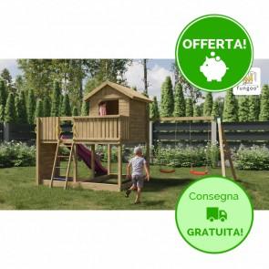 Parco Giochi in legno di pino Fungoo GALAXY L con Altalena doppia - 488 x 332 x 280h cm