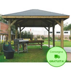 KIOSK Gazebo tetto legno + tegole 629x347 montanti 12x12