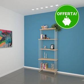 Libreria componibile in legno IRIS - 75 x 35/22 x 190h cm - finitura Acero