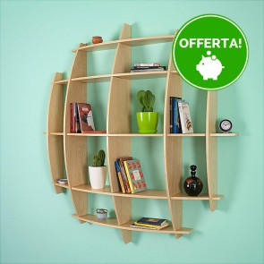 Libreria componibile in legno LUNA - 150 x 30 x 150h cm - finitura Acero